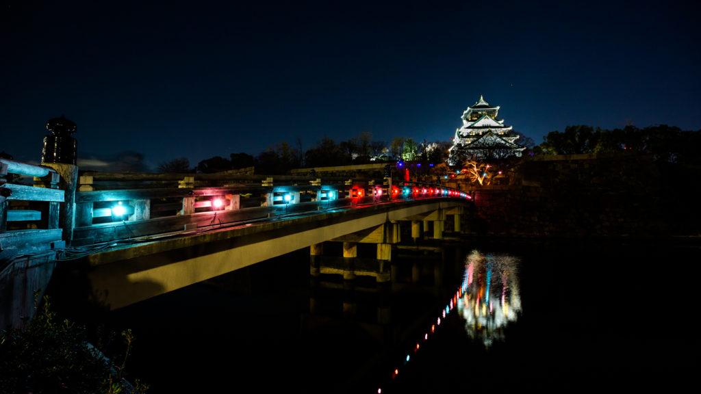 Le Chateau d'Osaka la nuit lors de Sakuya Lumina, magnifique ! Credit : Moment Factory